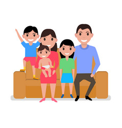 cartoon happy family sitting on sofa vector image