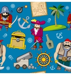 Cartoon pirates seamless pattern background vector image