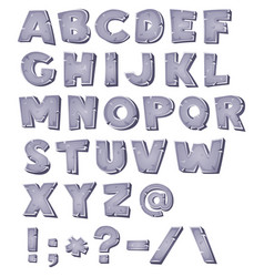cartoon stone alphabet vector image