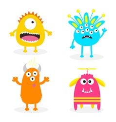 Monster set Cute cartoon scary character Baby vector image vector image