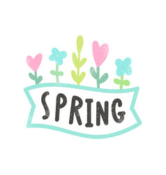 spring lettering and flowers vector image