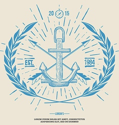 Vintage Hipster Logo Crossed Arrows with Anchor vector image