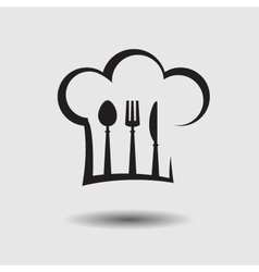 chef hat with spoon knife and fork vector image