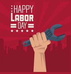 colorful poster of happy labor day with red vector image vector image
