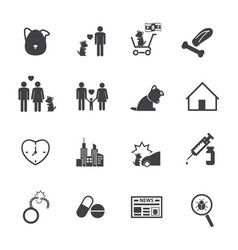 dog life story icons set flat design for vector image vector image