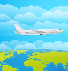 Flying aircraft in the sky Flat design vector image vector image