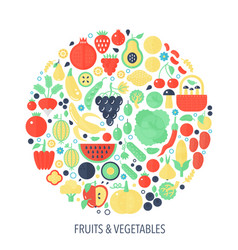 fruits vegetables flat infographics icons in vector image
