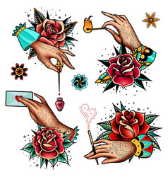 old school tattoo roses and hands set vector image