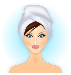 smiling girl with towel vector image
