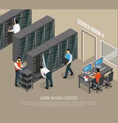 work in data center isometric vector image
