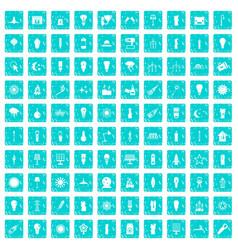 100 light source icons set grunge blue vector image