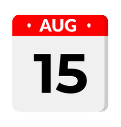 15 august calendar icon vector
