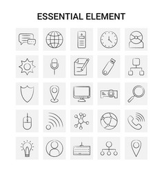 25 hand drawn essential element icon set gray vector image