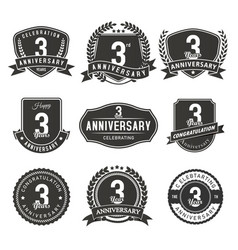 3 year anniversary badge and labels vector image
