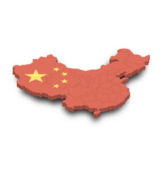 3d map china and province and flag pattern vector