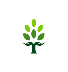 abstract tree hand green concept nature icon logo vector image