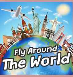 airplane fly around world with world landmark vector image