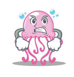 Angry cute jellyfish character cartoon vector