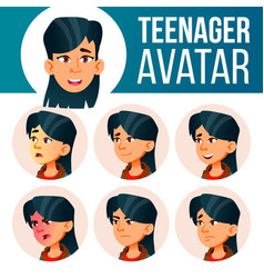 Asian teen girl avatar set face emotions vector