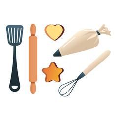 baking tools bakery items cake decoration vector image