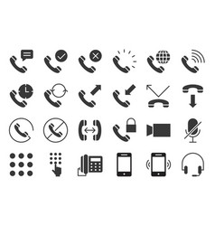 basic phone and call icon set solid style vector image