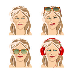 Beautiful girl with four facial expressions vector