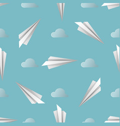 blue seamless background pattern of paper origami vector image