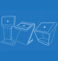blueprint of set of promotional information kiosk vector image