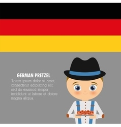 Boy cartoon hat pretzel icon Germany vector