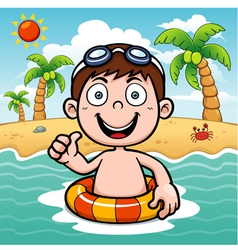 Boy swim vector image