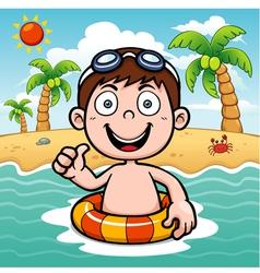 Boy swim vector