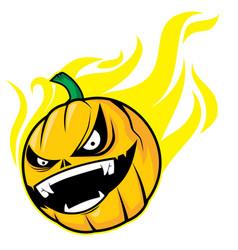 burning pumpkin head vector image