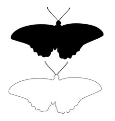Butterfly silhouette outline icon eps set vector