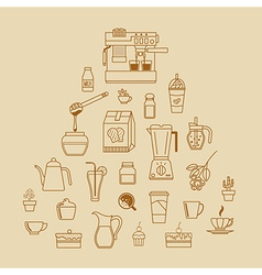 cafe equipment outline icons design collection2 vector image