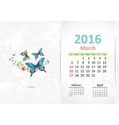 Calendar for 2016 march vector image