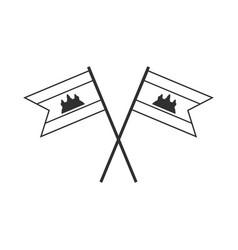 Cambodia flag icon in black outline flat design vector