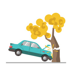Car crash accident in tree flat vector