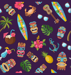 Cartoon summer travel elements pattern vector
