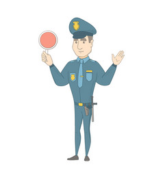 Caucasian traffic policeman holding traffic sign vector