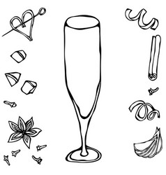 Champagne flute coctail glass hand drawn vector