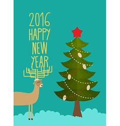 Christmas tree and deer Holiday card for Christmas vector image vector image