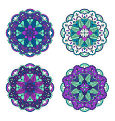 Colorful floral mandala set vector