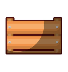 Colorful silhouette of wooden box in closeup and vector