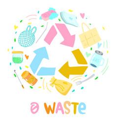 Colorful zero waste logo design template set no vector