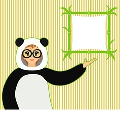 Cute girl in panda suit with bamboo textboard vector