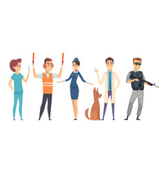 different professons people characters isolated on vector image
