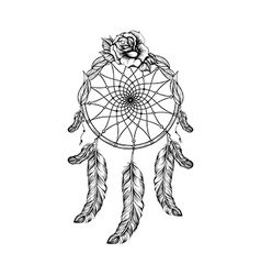 Dream catcher with feathers leafs and rose in line vector image