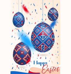 Easter eggs with knitting pattern and confetti vector
