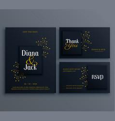 Elegant dark wedding card invitation template vector