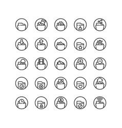Folder outline icon set vector
